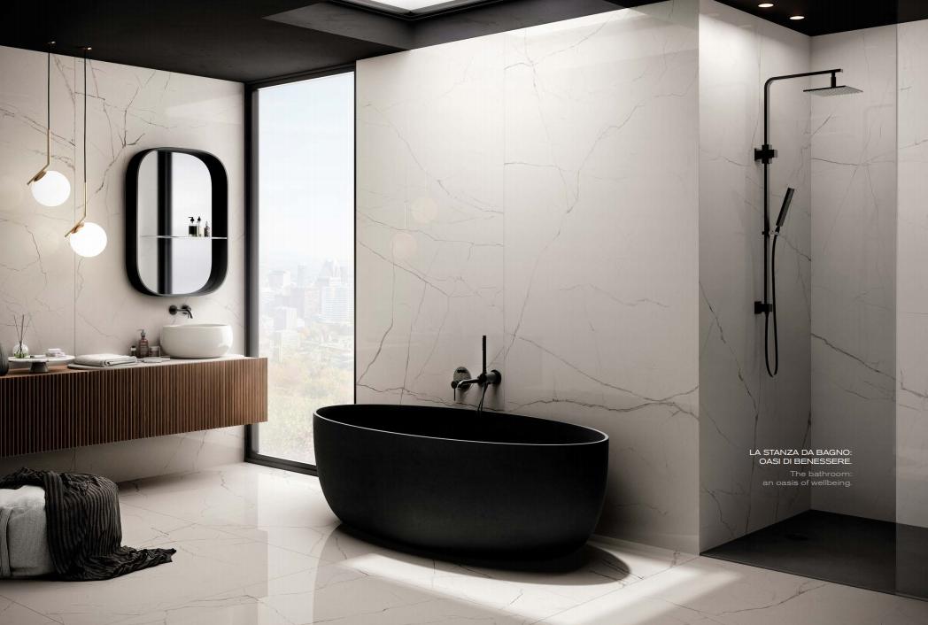 Großformat Fliesen als Alternative zum fugenlosen Bad